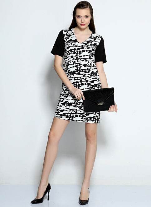Asymmetry Kısa Kollu V Yaka Desenli Elbise Siyah